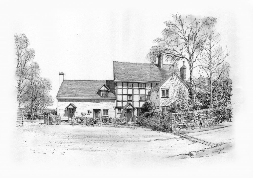 Pen and ink drawing of Cowleigh Park Farm