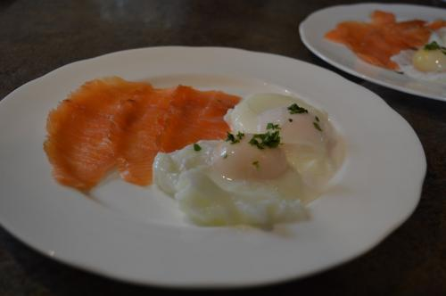 Poached egg and smoked salmon for breakfast